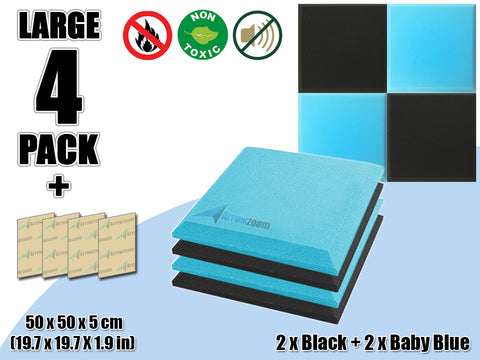 New 4 pcs Black & Baby Blue Bundle Flat Bevel Tile Acoustic Panels Sound Absorption Studio Soundproof Foam KK1039