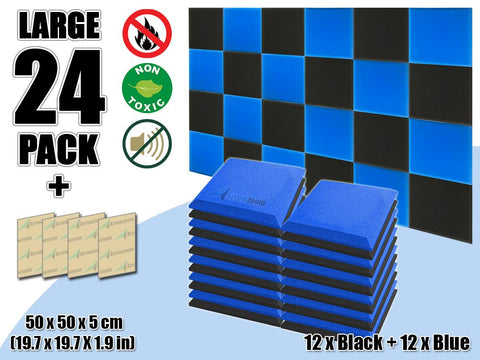 New 24 pcs Black & Blue Bundle Flat Bevel Tile Acoustic Panels Sound Absorption Studio Soundproof Foam KK1039