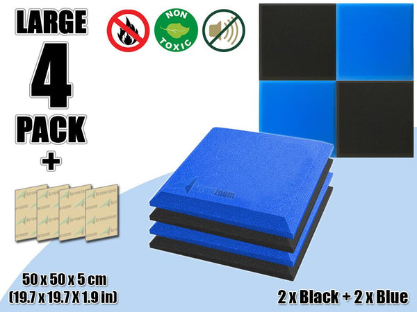 New 4 pcs Black & Blue Bundle Flat Bevel Tile Acoustic Panels Sound Absorption Studio Soundproof Foam KK1039