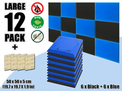 New 12 pcs Black & Blue Bundle Flat Bevel Tile Acoustic Panels Sound Absorption Studio Soundproof Foam KK1039