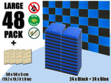 New 48 pcs Black & Blue Bundle Flat Bevel Tile Acoustic Panels Sound Absorption Studio Soundproof Foam KK1039