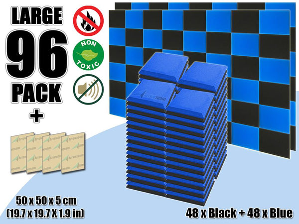 New 96 pcs Black & Blue Bundle Flat Bevel Tile Acoustic Panels Sound Absorption Studio Soundproof Foam KK1039