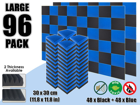 Arrowzoom 96 PCS Black and Blue Multi-Wedge Style Tiles Acoustic Panels Sound Absorption Studio Soundproof Foam KK1167
