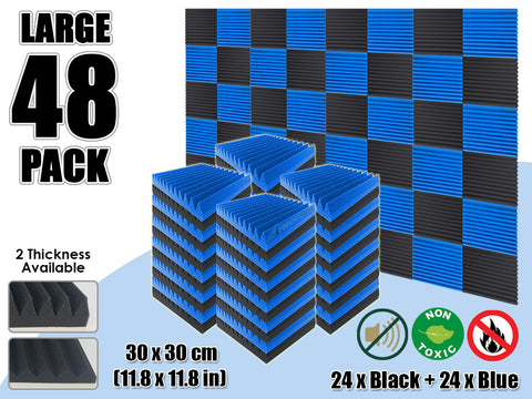 Arrowzoom 48 PCS Black and Blue Multi-Wedge Style Tiles Acoustic Panels Sound Absorption Studio Soundproof Foam KK1167