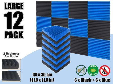 Arrowzoom 12 PCS Black and Blue Multi-Wedge Style Tiles Acoustic Panels Sound Absorption Studio Soundproof Foam KK1167