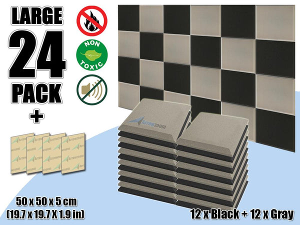 New 24 pcs Black & Gray Bundle Flat Bevel Tile Acoustic Panels Sound Absorption Studio Soundproof Foam KK1039