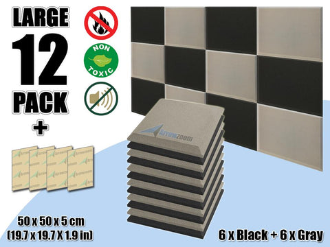 New 12 pcs Black & Gray Bundle Flat Bevel Tile Acoustic Panels Sound Absorption Studio Soundproof Foam KK1039