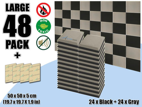 New 48 pcs Black & Gray Bundle Flat Bevel Tile Acoustic Panels Sound Absorption Studio Soundproof Foam KK1039