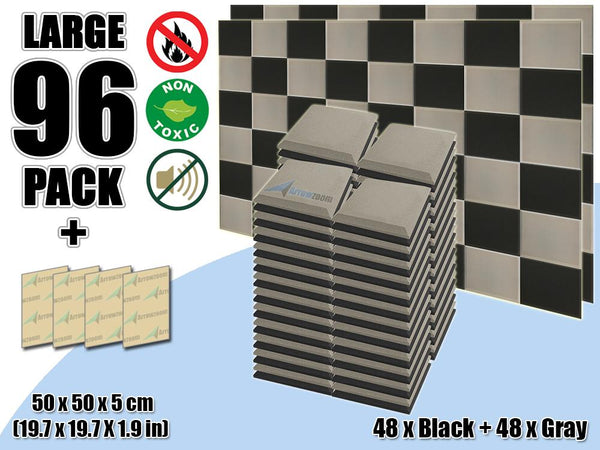 New 96 pcs Black & Gray Bundle Flat Bevel Tile Acoustic Panels Sound Absorption Studio Soundproof Foam KK1039