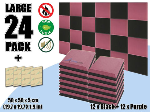 New 24 pcs Black & Purple Bundle Flat Bevel Tile Acoustic Panels Sound Absorption Studio Soundproof Foam KK1039