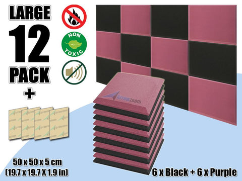 New 12 pcs Black & Purple Bundle Flat Bevel Tile Acoustic Panels Sound Absorption Studio Soundproof Foam KK1039