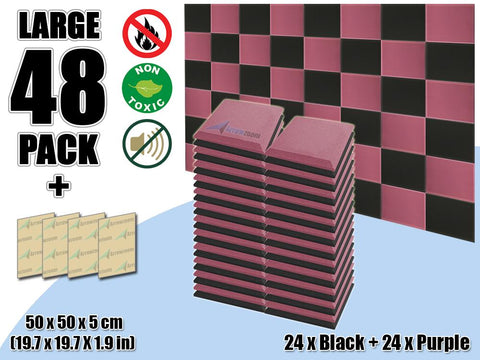 New 48 pcs Black & Purple Bundle Flat Bevel Tile Acoustic Panels Sound Absorption Studio Soundproof Foam KK1039