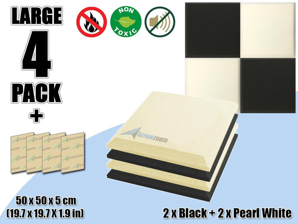 New 4 pcs Black & Pearl White Bundle Flat Bevel Tile Acoustic Panels Sound Absorption Studio Soundproof Foam KK1039