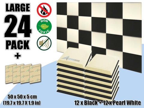 New 24 pcs Black & Pearl White Bundle Flat Bevel Tile Acoustic Panels Sound Absorption Studio Soundproof Foam KK1039