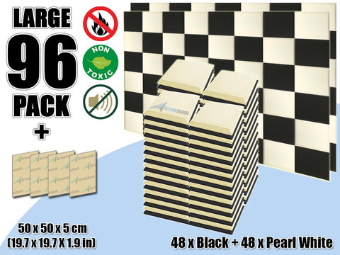 New 96 pcs Black & Pearl White Bundle Flat Bevel Tile Acoustic Panels Sound Absorption Studio Soundproof Foam KK1039