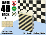 New 48 pcs Black & Pearl White Bundle Flat Bevel Tile Acoustic Panels Sound Absorption Studio Soundproof Foam KK1039