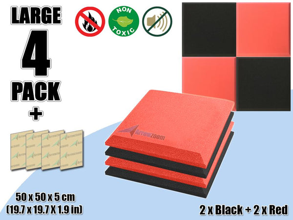 New 4 pcs Black & Red Bundle Flat Bevel Tile Acoustic Panels Sound Absorption Studio Soundproof Foam KK1039