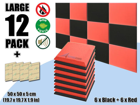New 12 pcs Black & Red Bundle Flat Bevel Tile Acoustic Panels Sound Absorption Studio Soundproof Foam KK1039