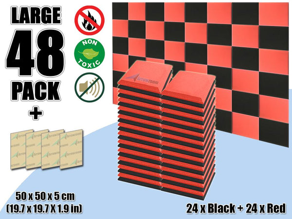New 48 pcs Black & Red Bundle Flat Bevel Tile Acoustic Panels Sound Absorption Studio Soundproof Foam KK1039