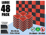 Arrowzoom 48 PCS Black and Red Multi-Wedge Style Tiles Acoustic Panels Sound Absorption Studio Soundproof Foam KK1167