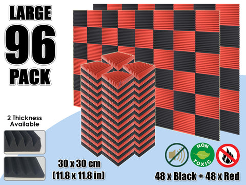 Arrowzoom 96 PCS Black and Red Multi-Wedge Style Tiles Acoustic Panels Sound Absorption Studio Soundproof Foam KK1167