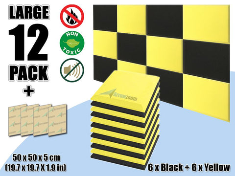 New 12 pcs Black & Yellow Bundle Flat Bevel Tile Acoustic Panels Sound Absorption Studio Soundproof Foam KK1039