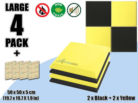 New 4 pcs Black & Yellow Bundle Flat Bevel Tile Acoustic Panels Sound Absorption Studio Soundproof Foam KK1039