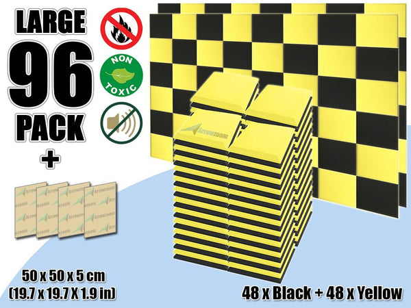 New 96 pcs Black & Yellow Bundle Flat Bevel Tile Acoustic Panels Sound Absorption Studio Soundproof Foam KK1039