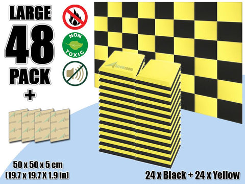 New 48 pcs Black & Yellow Bundle Flat Bevel Tile Acoustic Panels Sound Absorption Studio Soundproof Foam KK1039