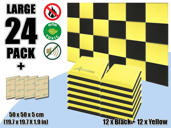 New 24 pcs Black & Yellow Bundle Flat Bevel Tile Acoustic Panels Sound Absorption Studio Soundproof Foam KK1039