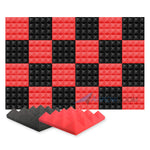 New 24 pcs Black and Red Bundle Pyramid Tiles Acoustic Panels Sound Absorption Studio Soundproof Foam KK1034