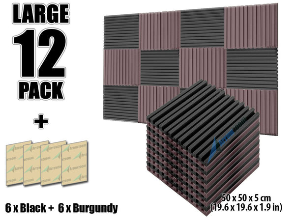 New 12 pcs Black and Burgundy Bundle Metro Striped Ceiling Insulation Acoustic Panels Sound Absorption Studio Soundproof Foam KK1041