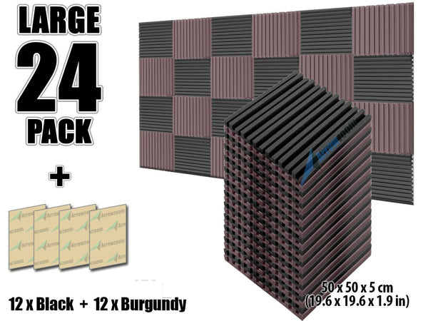 New 24 pcs Black and Burgundy Bundle Metro Striped Ceiling Insulation Acoustic Panels Sound Absorption Studio Soundproof Foam KK1041