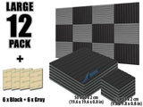 New 12 pcs Black and Gray Bundle Wedge Tiles Acoustic Panels Sound Absorption Studio Soundproof Foam KK1035