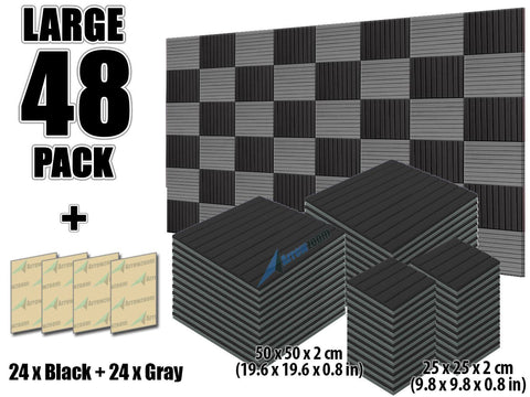 New 48 pcs Black and Gray Bundle Wedge Tiles Acoustic Panels Sound Absorption Studio Soundproof Foam KK1035
