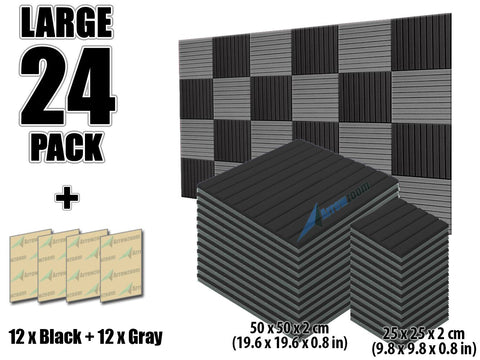 New 24 pcs Black and Gray Bundle Wedge Tiles Acoustic Panels Sound Absorption Studio Soundproof Foam KK1035