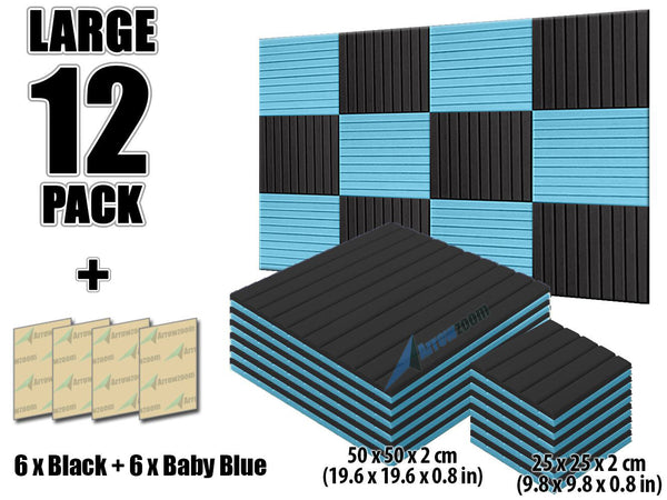 New 12 pcs Black and Baby Blue Bundle Wedge Tiles Acoustic Panels Sound Absorption Studio Soundproof Foam KK1035