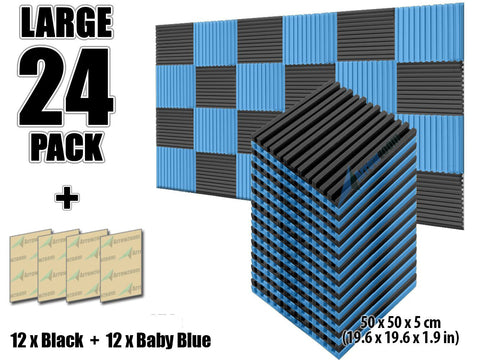 New 24 pcs Black and Baby Blue Bundle Metro Striped Ceiling Insulation Acoustic Panels Sound Absorption Studio Soundproof Foam KK1041