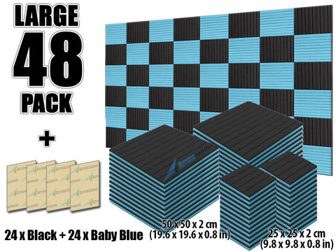 New 48 pcs Black and Baby Blue Bundle Wedge Tiles Acoustic Panels Sound Absorption Studio Soundproof Foam KK1035