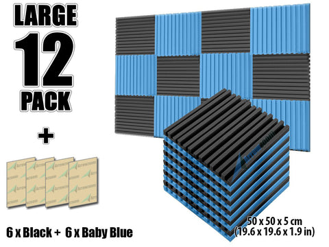 New 12 pcs Black and Baby Blue Bundle Metro Striped Ceiling Insulation Acoustic Panels Sound Absorption Studio Soundproof Foam KK1041