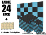 New 24 pcs Black and Baby Blue Bundle Wedge Tiles Acoustic Panels Sound Absorption Studio Soundproof Foam KK1035