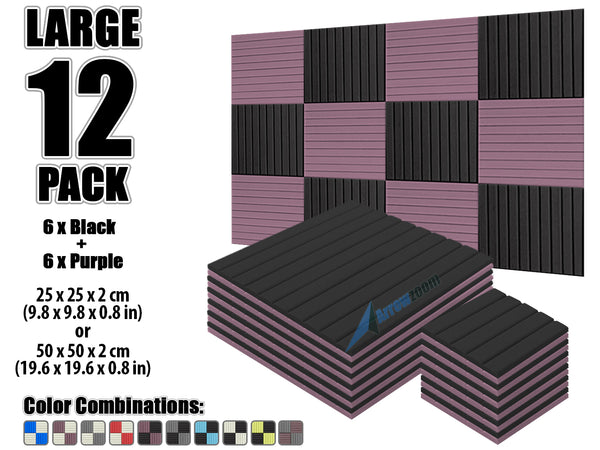 New 12 pcs Black and Purple Bundle Wedge Tiles Acoustic Panels Sound Absorption Studio Soundproof Foam KK1035