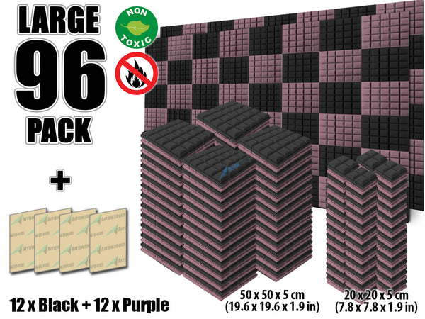 New 96 pcs Black and Purple Bundle Hemisphere Grid Type Acoustic Panels Sound Absorption Studio Soundproof Foam KK1040