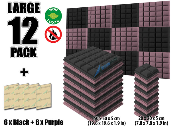 New 12 pcs Black and Purple Bundle Hemisphere Grid Type Acoustic Panels Sound Absorption Studio Soundproof Foam KK1040