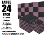 New 24 pcs Black and Purple Bundle Wedge Tiles Acoustic Panels Sound Absorption Studio Soundproof Foam KK1035