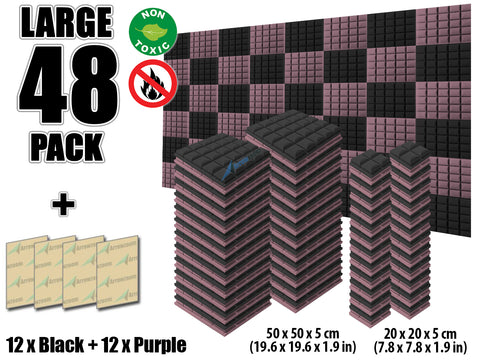New 48 pcs Black and Purple Bundle Hemisphere Grid Type Acoustic Panels Sound Absorption Studio Soundproof Foam KK1040