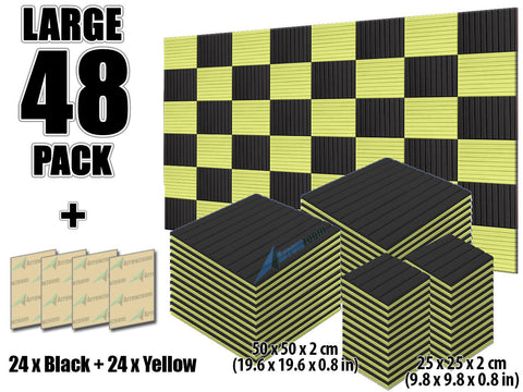 New 48 pcs Black and Yellow Bundle Wedge Tiles Acoustic Panels Sound Absorption Studio Soundproof Foam KK1035