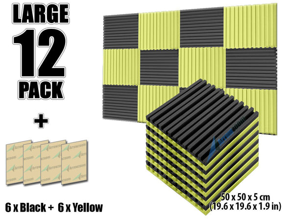 New 12 pcs Black and Yellow Bundle Metro Striped Ceiling Insulation Acoustic Panels Sound Absorption Studio Soundproof Foam KK1041