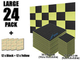 New 24 pcs Black and Yellow Bundle Wedge Tiles Acoustic Panels Sound Absorption Studio Soundproof Foam KK1035
