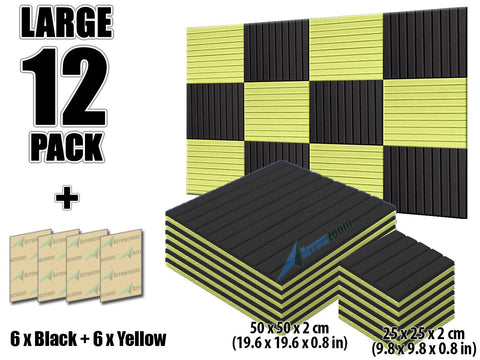 New 12 pcs Black and Yellow Bundle Wedge Tiles Acoustic Panels Sound Absorption Studio Soundproof Foam KK1035